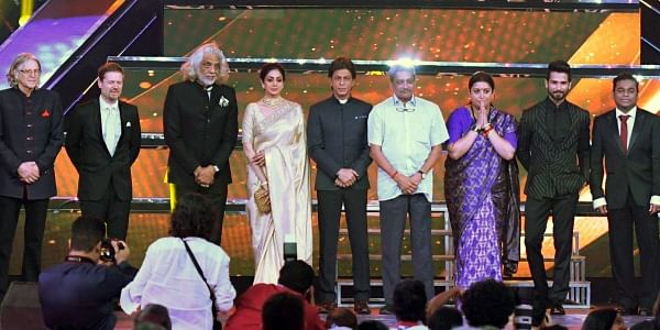 I &B Minister Smriti Irani, Goa Chief Minister Manohar Parrikar, A. R. Rahman,actors Shahrukh Khan, Sridevi, Shahid Kapoor, members of the international jury during the inaugural ceremony. (Photo | PTI)