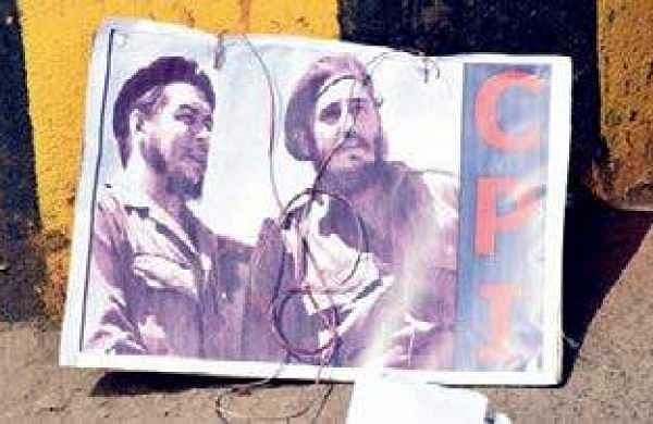 Picture of Argentinian Marxist revolutionary Che Guevara found on a footpath after police arrested left party activists during the Chalo Assembly agitation in Vijayawada on Monday   Express