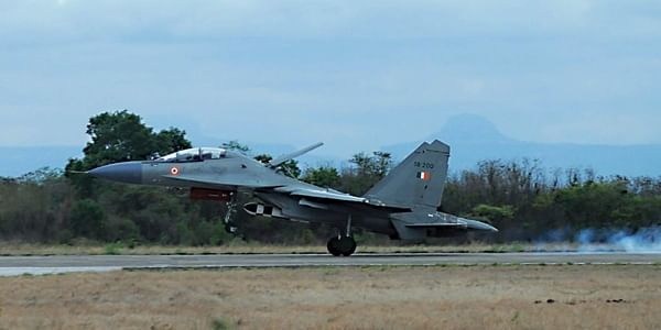 Sukhoi-30 MKI aircraft taking off with BrahMos ALCM. (Express Photo Service)