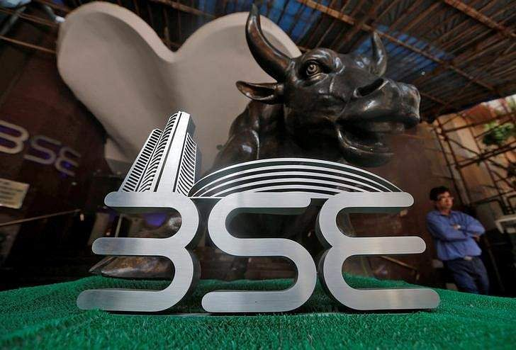 The Bombay Stock Exchange logo is seen at the BSE building in Mumbai