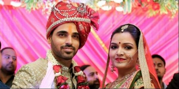 Speedster Bhuvneshwar Kumar during his marriage with the childhood friend Nupur Nagar in Meerut on Thursday. PTI