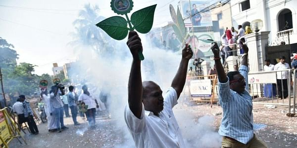 AIADMK party men celebrate at the party headquarters on Thursday in Chennai. (Express Photo Service | P Jawahar)