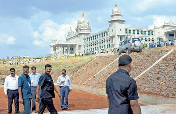 Chief Minister Siddaramaiah arrives at Suvarna Vidhana Soudha for the Assembly session on Wednesday | express