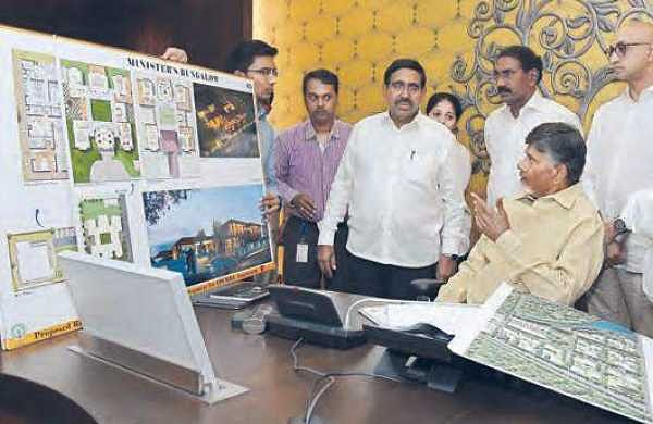 Chief Minister N Chandrababu Naidu holds a review meeting with CRDA officials at the Secretariat in Velagapudi on Wednesday | Express