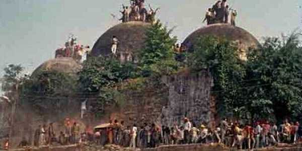 The Babri Masjid at Ayodhya in Uttar Pradesh which was razed to the ground by Hindutva activists  who claimed it stood on the birthplace of Ram; A makeshift temple was later established at the site, which was the alleged target of a terror attack in 2005