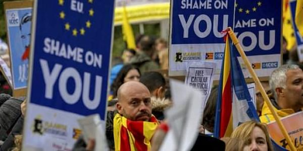 Pro-independence for Catalonia supporters demonstrate near the EU quarter in Brussels.|AP
