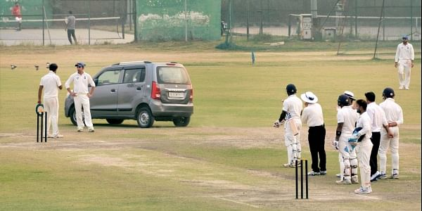 An intruder drove his car onto the pitch during the Ranji Trophy match between Delhi and Uttar Pradesh. PTI