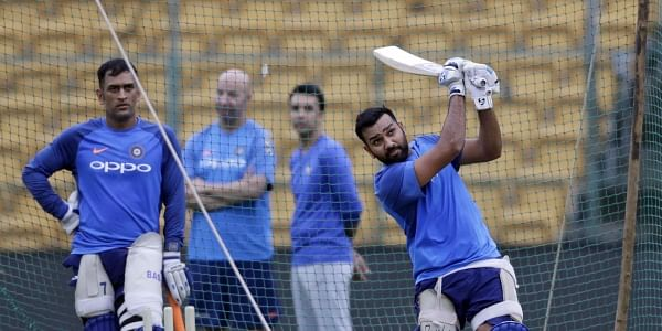 Indian cricket player Rohit Sharma bats during a practice session. (Photo | AP)