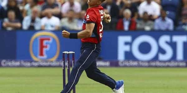 England's Tom Curran bowls during the third Twenty20 (T20) international cricket match between England and South Africa. AFP