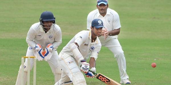 Tamil Nadu batsman Washington sundar hits a shot during the Ranji trophy match against Tripura at Chepauk in Chennai.|Express/D Sampath Kumar