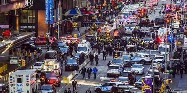 Police said a man with a pipe bomb strapped to his body set off the crude device in a passageway under 42nd Street between Seventh and Eighth Avenues. | AP