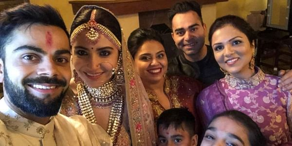 Indian cricket captain Virat Kohli takes a selfie with his actress wife Anushka Sharma on wedding day in Milan Italy. | PTI