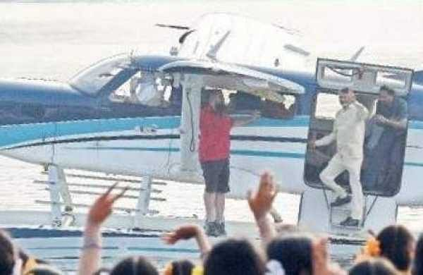 Chief Minister Chandrababu Naidu test drove a seaplane at Punnami Ghat