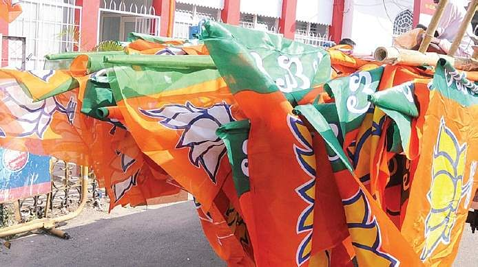 PTI file image of BJP flags used for representational purpose only & BJP to launch door-to-door campaign from January 1 across Kerala ... pezcame.com