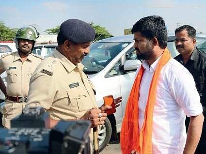 District BJP Yuva Morcha protest opposing MP Pratap Simha's arrest