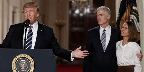 President Donald Trump speaks in the East Room of the White House in Washington, Tuesday, Jan. 31, 2017, to announce Judge Neil Gorsuch as his nominee for the Supreme Court. Gorsuch stands with his wife Louise. (Photo   AP)
