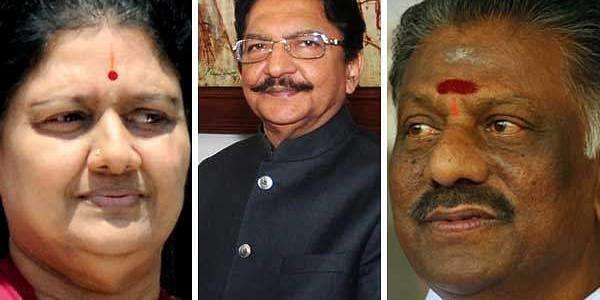 VK Sasikala, Governor Ch Vidyasagar Rao and O Panneerselvam