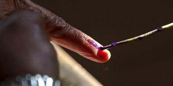 A voter inks the finger during election.(Photo |AP)