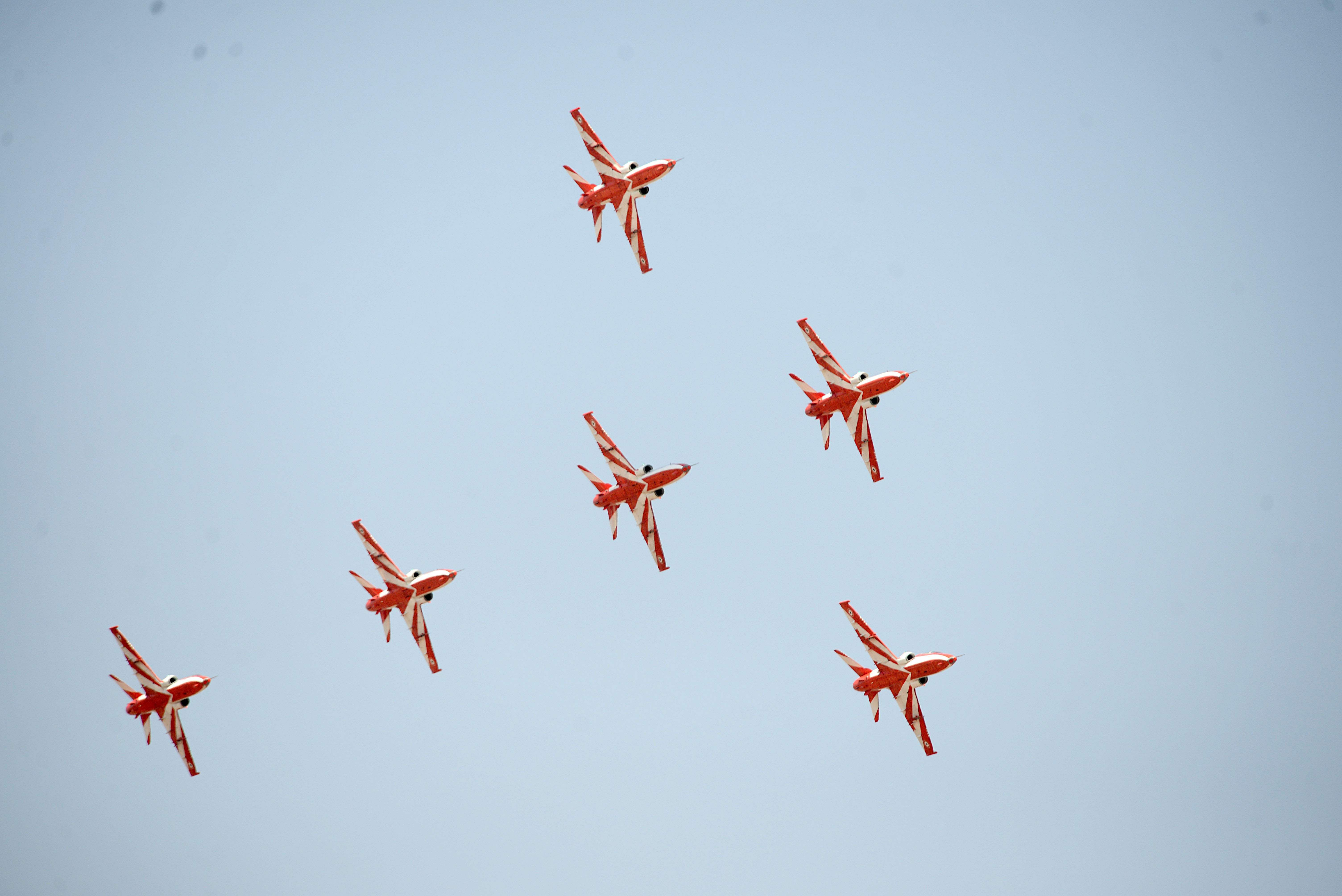 Indian Air Force's Suryakiran team wowed the audience with its synchrony. (Pushkar V|EPS)