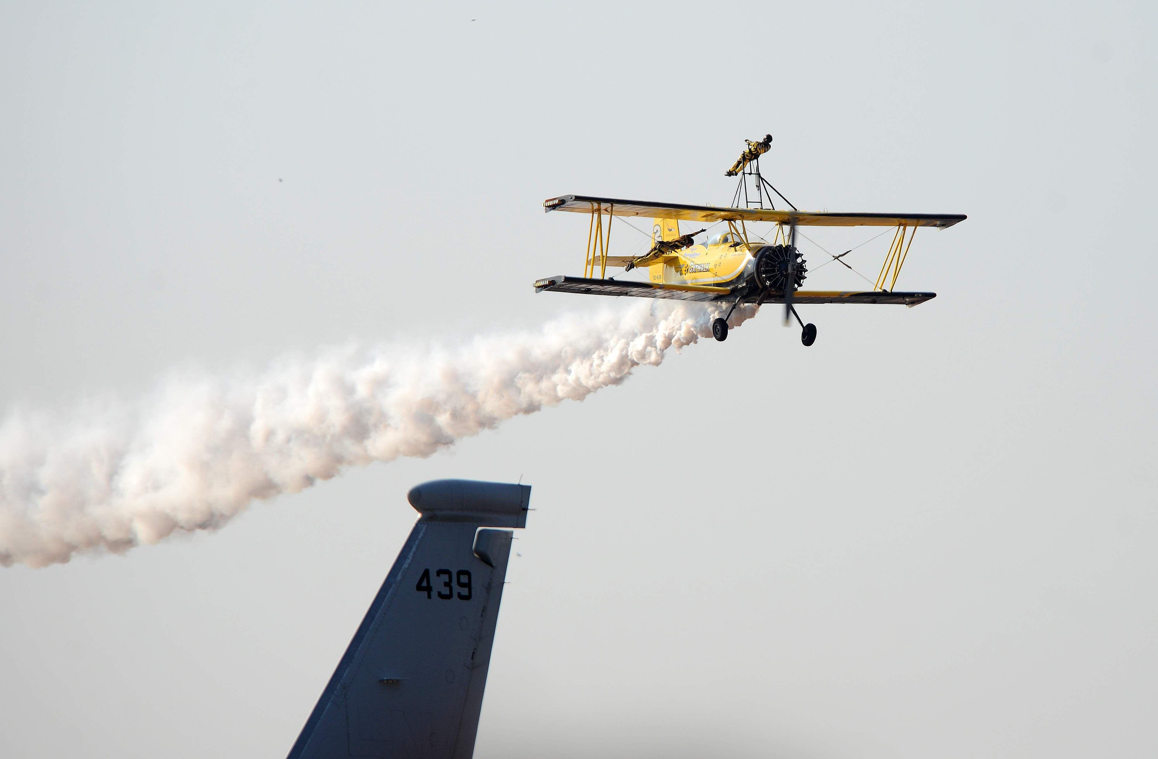 Skycat Wingwalkers from the Scandinavian Airshow team performing at Aero India 2017. (Pushkar V | EPS)