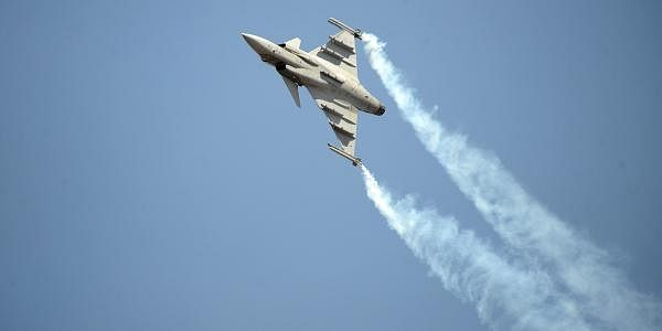 Sweden's fighter aircraft Gripen shows off its prowess during Aero India in Bengaluru. (Pushkar V   EPS)