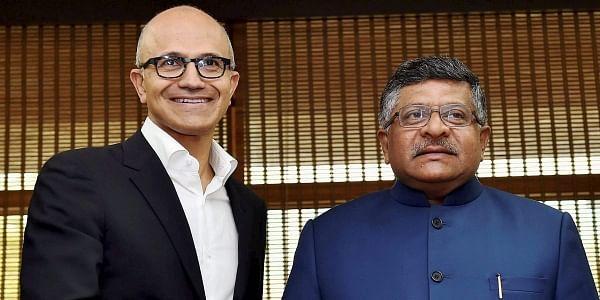 Microsoft CEO Satya Nadella with IT Minister Ravi Shankar Prasad. (Photo | PTI)