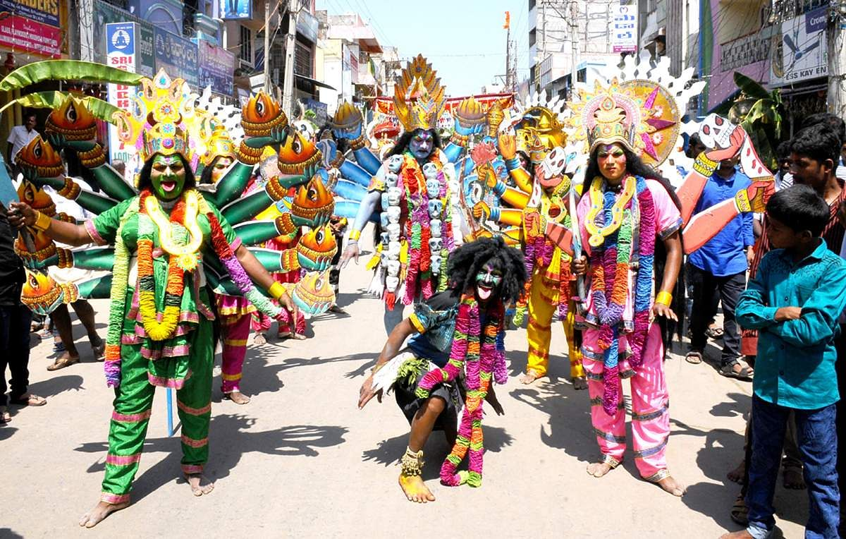Maha Shivaratri celebrations in all hues at a parade of performers dressed as Goddess Kali (Express Photo Service)