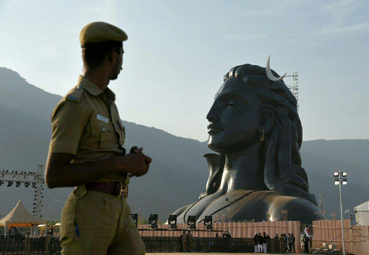 A 112-foot tall statue of Lord Shiva as the Adiyogi unveiled by Prime Minister Narendra Modi in Coimbatore, Tamil Nadu on the occasion of Maha Shivratri. (Raja Chidambaram | EPS)