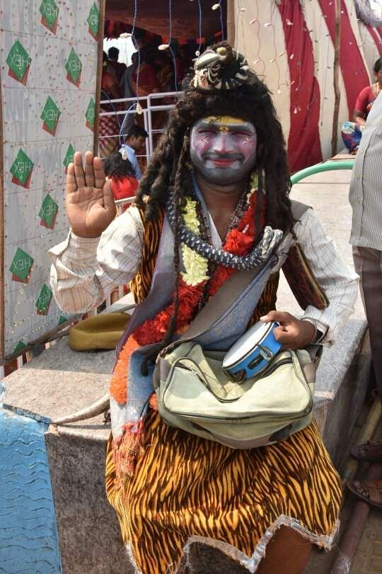 Devotee dressed as Lord Shiva during Shivaratri celebrations in Visakhapatnam. (RVK Rao | EPS)