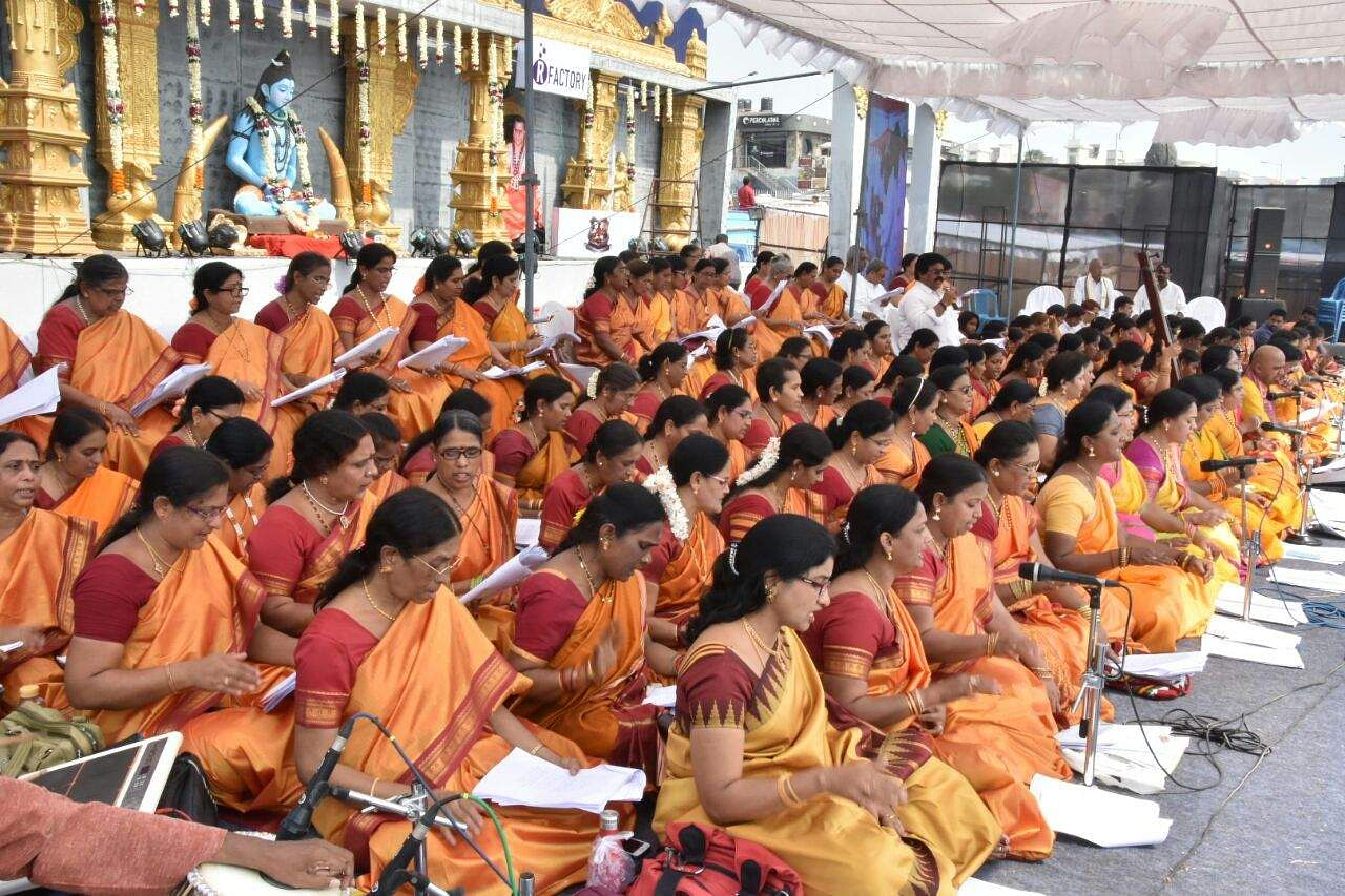 Women sing Shiva keertans during Shivratri celebrations in Visakhapatnam. (RVK Rao | EPS)