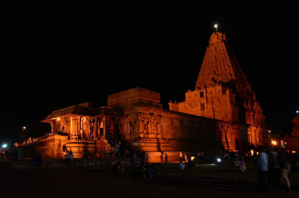 The Brihadeeswarar Temple in Thanjavur, popularly known as the Big Temple, stands tall, magnificent and resplendent on the night of the Maha Shivaratri on Friday (M K Ashok Kumar | EPS)