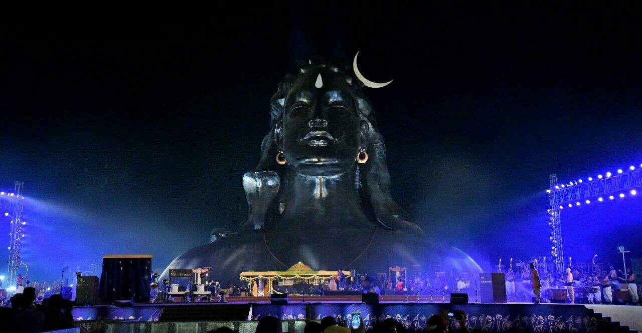 The Adiyogi statue at Isha Yoga Foundation, Coimbatore, seen at night. (Raja Chidambaram | EPS)