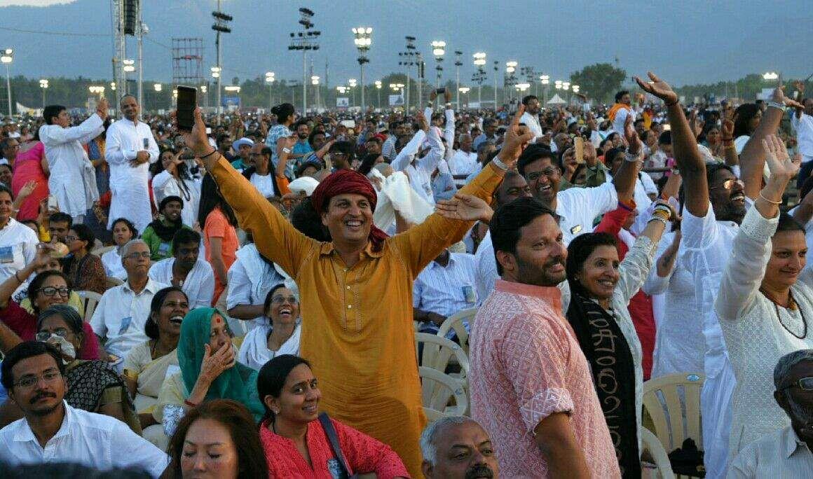 Devotees at the Maha Shivratri celebrations in Isha Yoga Foundation. (Raja Chidambaram | EPS)