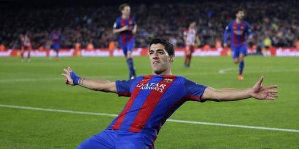 Barcelona's Luis Suarez celebrates after scoring the opening goal during the the Copa del Rey semifinal second leg soccer match between FC Barcelona and Atletico Madrid at the Camp Nou stadium in Barcelona, Spain, Tuesday Feb. 7, 2017.(Photo | AP)