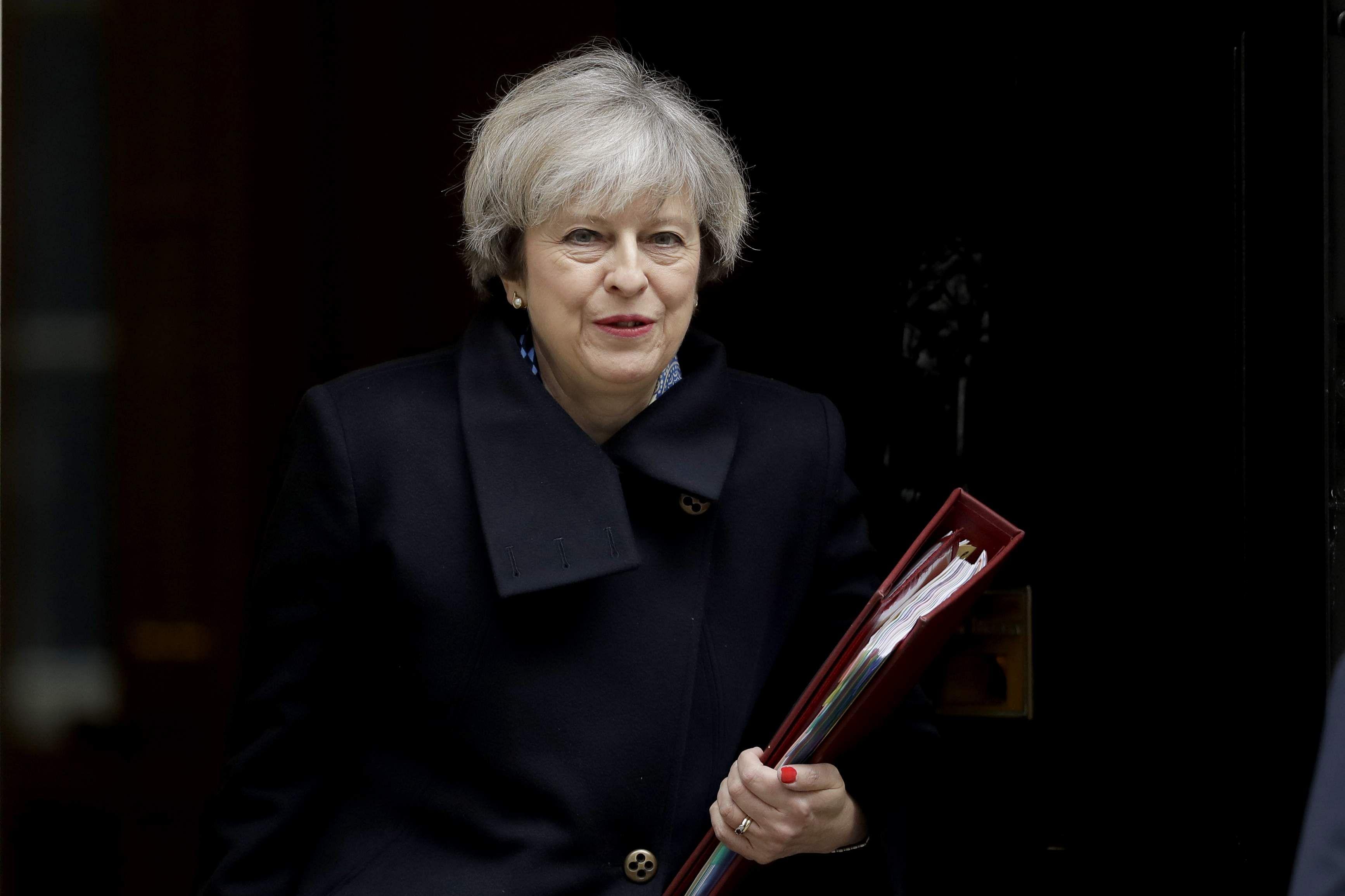 Uk muslims press for peace at 10 downing street - British Prime Minister Theresa May File Photo Ap