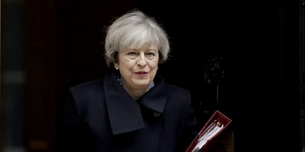 British Prime Minister, Theresa May, leaves 10 Downing Street in London, to attend Prime Minister's Questions at the Houses of Parliament (File Photo   AP)