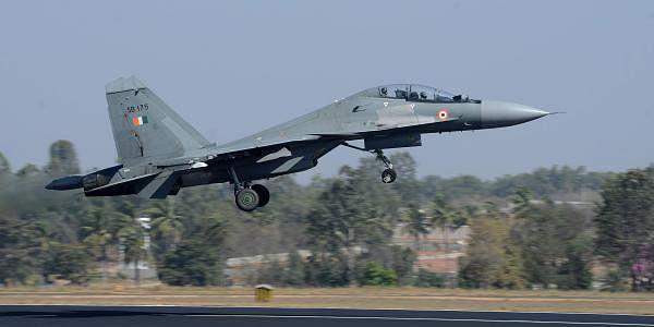Indian Air Force Sukhoi perform during Aero India in Bengaluru on Thursday. (Pushkar V EPS)