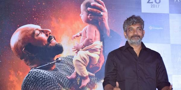 Director SS Rajamouli at the launch of the second part of his magnum opus Baahubali: The Conclusion, in Mumbai on Thursday. (Arun Jetlie | EPS)