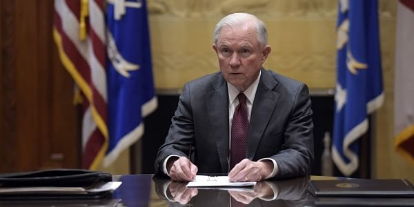 Attorney General Jeff Sessions holds a meeting with the heads of federal law enforcement components at the Department of Justice in Washington. (File Photo | AP)