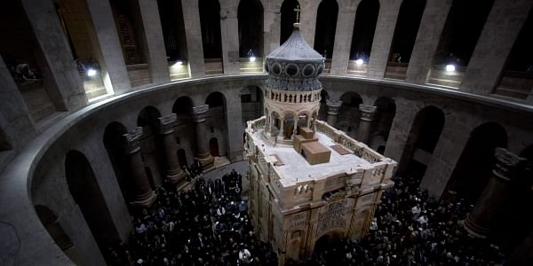 The renovated Edicule is seen during a ceremony in the Church of the Holy Sepulchre, traditionally believed to be the burial site of Jesus Christ, in Jerusalem's Old Cit. (Photo | AP)