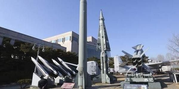 A mock North Korea's Scud-B missile, centre left, and South Korean missiles are displayed at Korea War Memorial Museum in Seoul, South Korea. (File photo | AP)