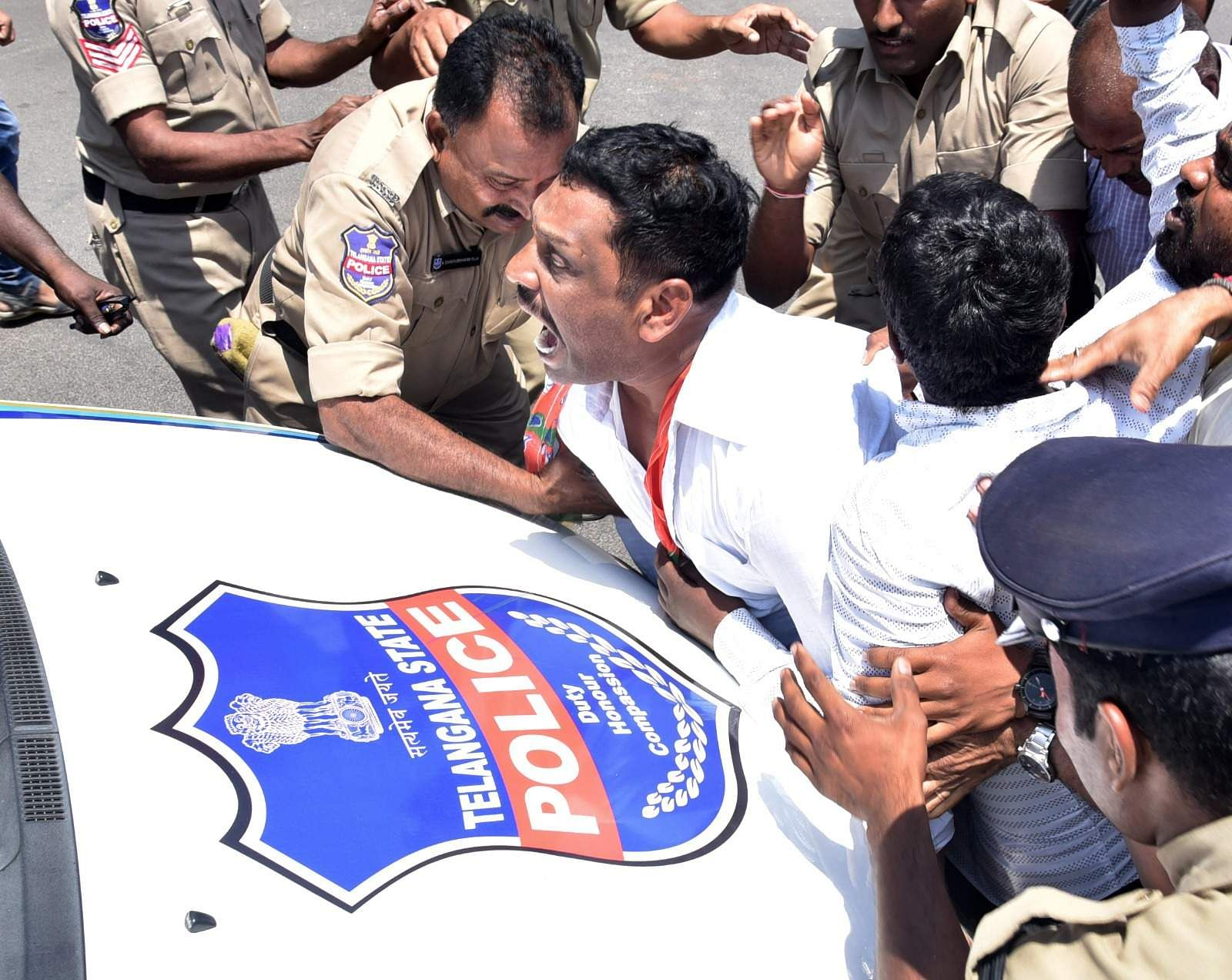 Earlier in the day,  all five BJP members in the Telangana legislative assembly were on Friday suspended from the house for two days for disrupting the proceedings. (EPS | Satish Babu)