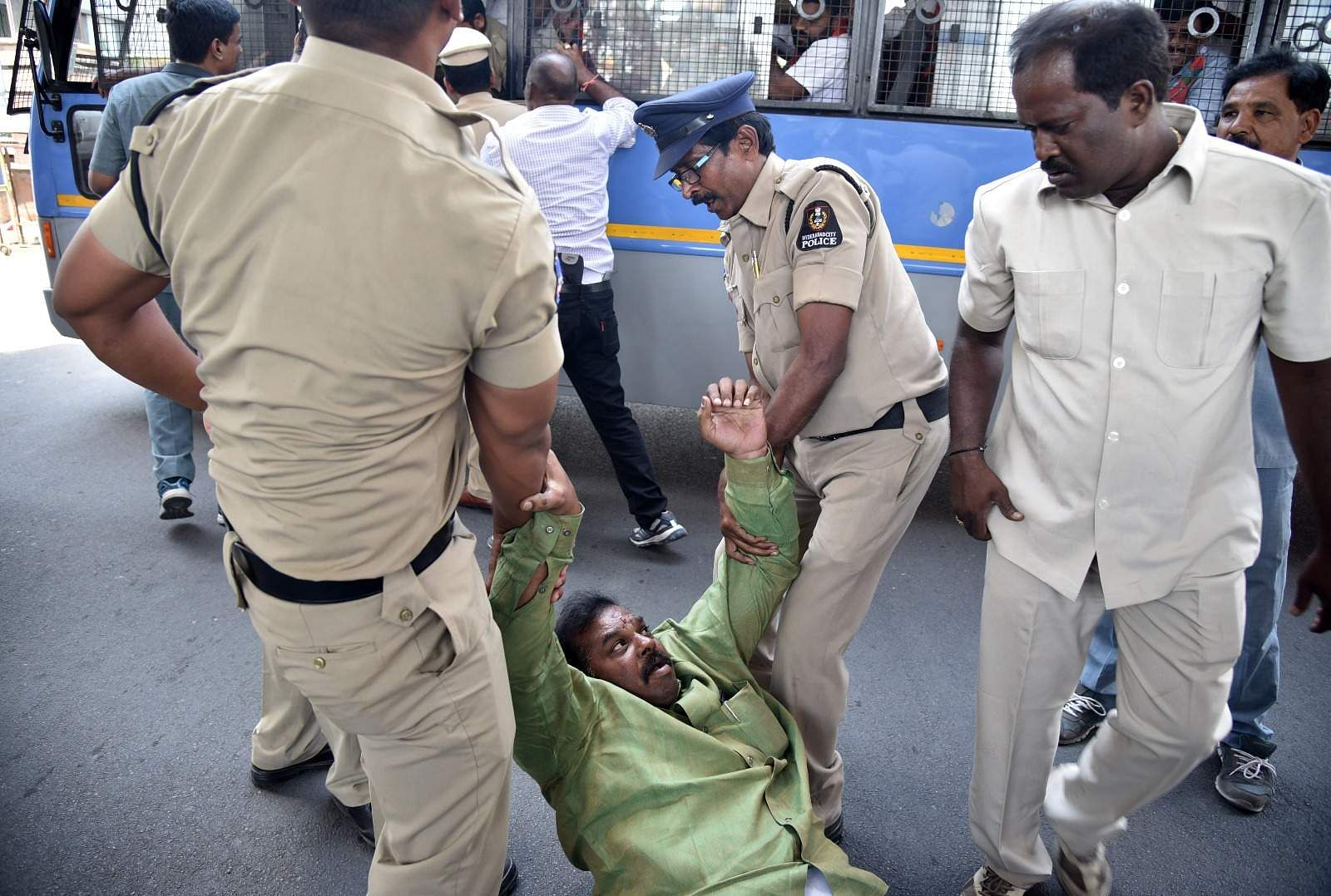 Speaker Madhusudhana Chary announced the suspension of Bharatiya Janata Party (BJP) members, including their leader K. Laxman, as they trooped in the well of the house to protest the Telangana Rashtra Samithi (TRS) government's move to increase the reservation for Muslims in the state. (EPS | Satish Babu)