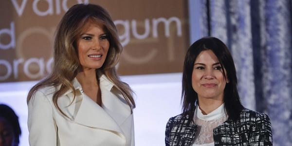 First lady Melania Trump presents the 2017 Secretary's of State's International Women of Courage (IWOC) Award to Saadet Özkan from Turkey, Wednesday, March 29,2017. (Photo | AP)