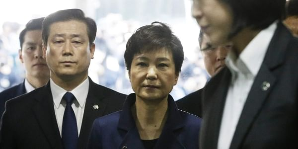 Ousted South Korean President Park Geun-hye, center, arrives at the Seoul Central District Court. (Photo | AP)