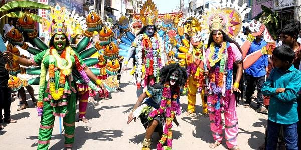 Maha Shivaratri celebrations in all hues at a parade of performers dressed as Goddess Kali (Express Photo Service)