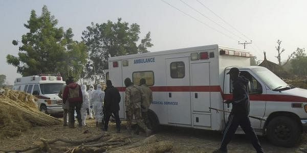 Emergency workers and security forces at the site of a suicide bomb attack at the outskirts of Maiduguri, Nigeria, Friday, Feb. 17, 2017. (Photo | AP)