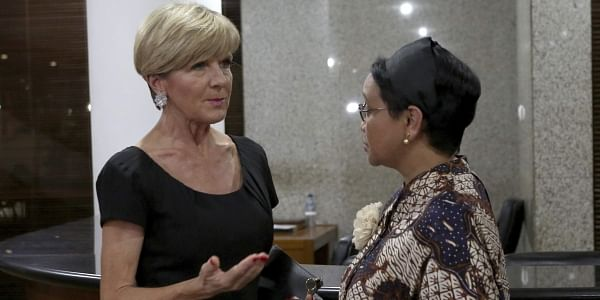 Australian Foreign Minister Julie Bishop, left, talks with her Indonesian counterpart Retno Marsudi during their meeting in Jakarta. (File Photo | AP)