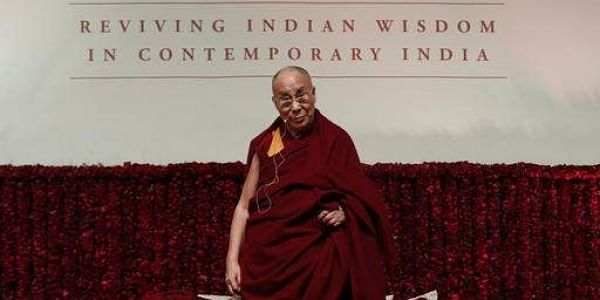 Tibetan spiritual leader the Dalai Lama looks on as he speaks on 'Reviving Indian Wisdom in Contemporary India' at a public event in New Delhi, India. (File Photo   AP)