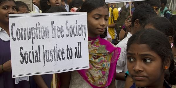 Indian school students participate in a protest against corruption in Hyderabad, India. (File Photo | AP)